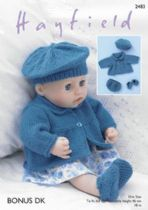 Sirdar DK Knitting Pattern - 2483 Dolls Jacket, Beret, Shoes & Pants